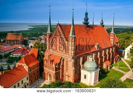Frombork panorama.in the foreground cathedral place where Nicolaus Copernicus was buried. Poland.