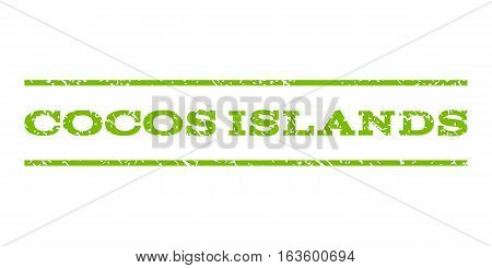 Cocos Islands watermark stamp. Text tag between horizontal parallel lines with grunge design style. Rubber seal stamp with dust texture. Vector eco green color ink imprint on a white background.
