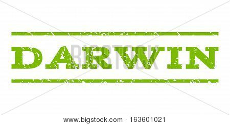 Darwin watermark stamp. Text tag between horizontal parallel lines with grunge design style. Rubber seal stamp with unclean texture. Vector eco green color ink imprint on a white background.