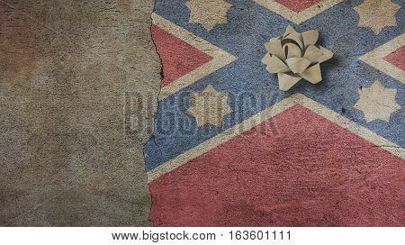 Robert E Lee Day. Flag on Cracked Concrete Wall and Ribbon