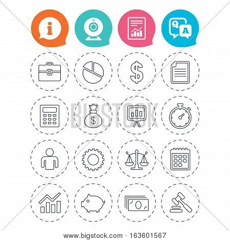Business icons. Businessman, briefcase and documents symbols. Presentation pie chart, money bag and justice scales thin outline signs. Dollar USD currency. Auction hammer. Vector