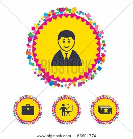 Web buttons with confetti pieces. Businessman icons. Human silhouette and cash money signs. Case and presentation symbols. Bright stylish design. Vector