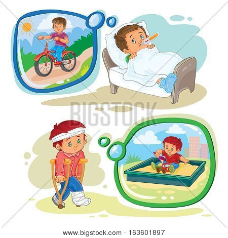 Set of vector clip art illustrations little boy sick and dream to recover