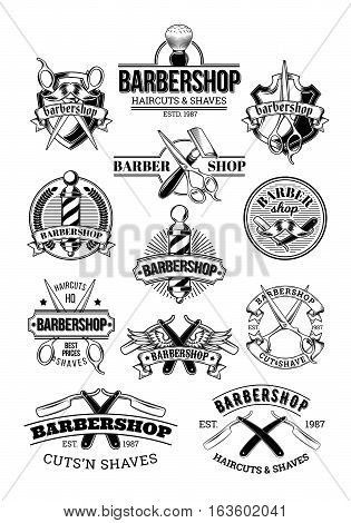 Vector set of barbershop logos, signage, made in engraving style