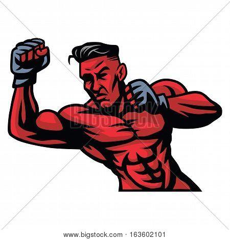 MMA Fighter Mascot Vector Illustration Sports Icon
