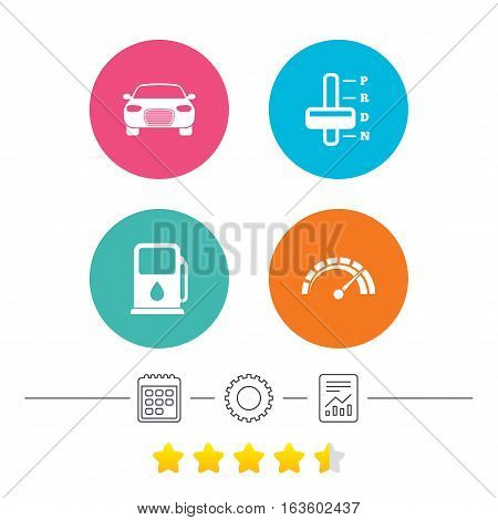 Transport icons. Car tachometer and automatic transmission symbols. Petrol or Gas station sign. Calendar, cogwheel and report linear icons. Star vote ranking. Vector