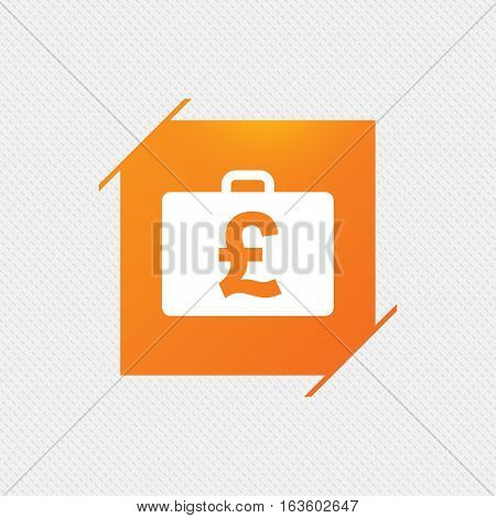 Case with Pounds GBP sign icon. Briefcase button. Orange square label on pattern. Vector