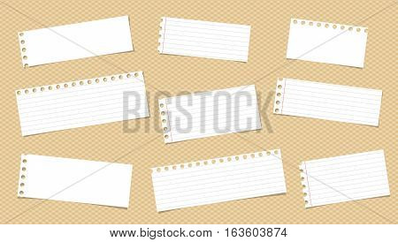 White ruled note, notebook, copybook paper pieces stuck on squared pattern.
