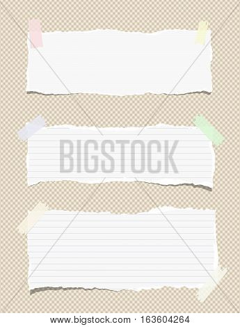 White ruled torn note, notebook, copy book paper sheets stuck on brown squared background.