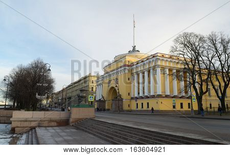 01.01.2017.Russia.Saint-Petersburg.The yellow building is an old architectural structure.Is the headquarters of the Admiralty.