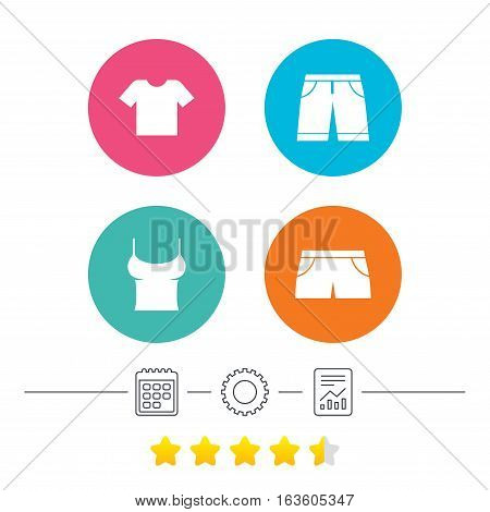Clothes icons. T-shirt and bermuda shorts signs. Swimming trunks symbol. Calendar, cogwheel and report linear icons. Star vote ranking. Vector