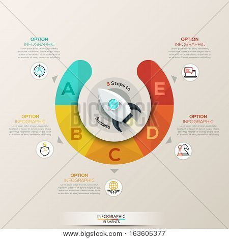 Vector circle flat infographics with spaceship, diagram, graph, round presentation, chart. Business info cycle concept with 5 options, parts, steps, processes. Modern graphic design.