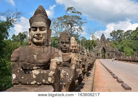 Archaeological temple Bayon in Angkor thom, cambodja