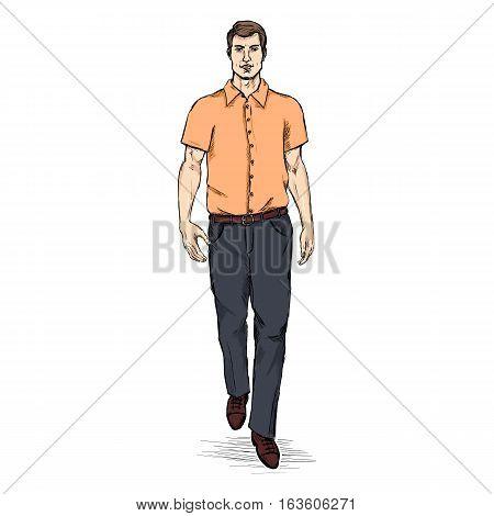 Vector Sketch Men Model In Short Sleeve Shirt. Business Dress Code