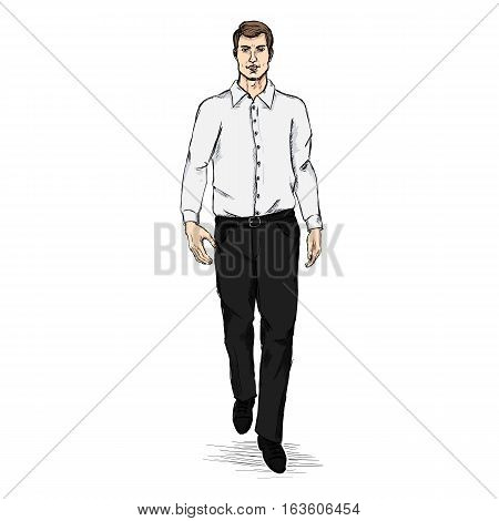 Vector Sketch Men Model In Long Sleeve Shirt And Trousers. Business Dress Code