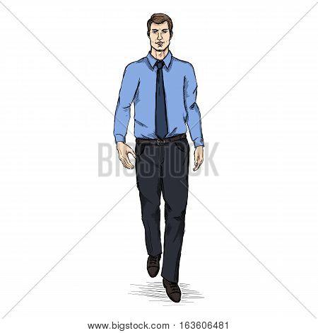 Vector Sketch Men Model In Shirt And Tie. Business Dress Code