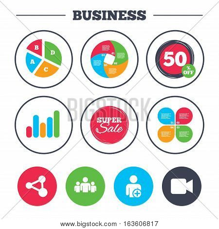 Business pie chart. Growth graph. Group of people and share icons. Add user and video camera symbols. Communication signs. Super sale and discount buttons. Vector