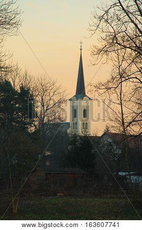 church in Stare Mesto, Czech Republic in the evening in autumn