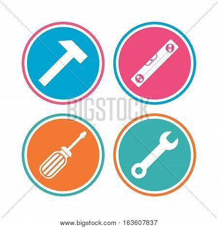 Screwdriver and wrench key tool icons. Bubble level and hammer sign symbols. Colored circle buttons. Vector