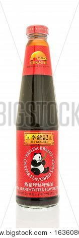 Winneconne WI - 2 November 2016: Bottle of Lee Kum Kee panda brand oyster sauce on an isolated background.