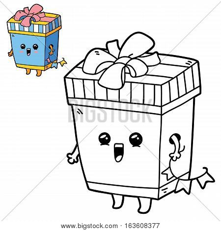 Vector illustration coloring page of happy cartoon gift box for children, coloring and scrap book