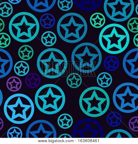 vector seamless pattern - blue stars in circles