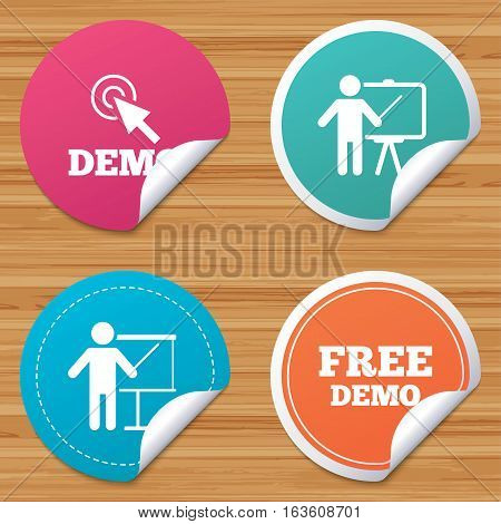 Round stickers or website banners. Demo with cursor icon. Presentation billboard sign. Man standing with pointer symbol. Circle badges with bended corner. Vector
