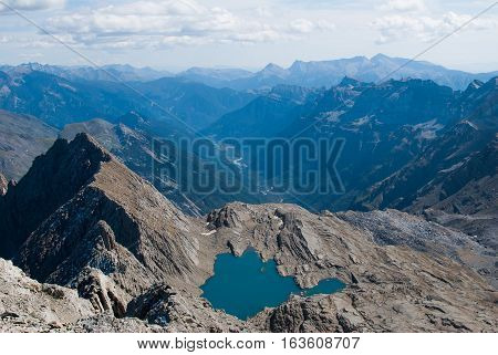 A Mountain landscape in Spanish pyrenees. Background valley