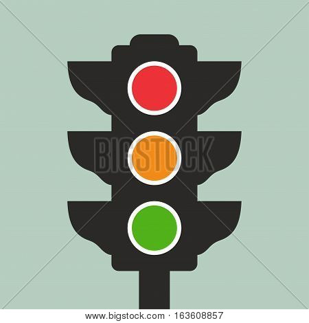 Traffic light. Vector icon isolated on green background.