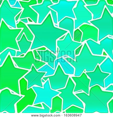 abstract vector stained-glass mosaic background - green and blue stars