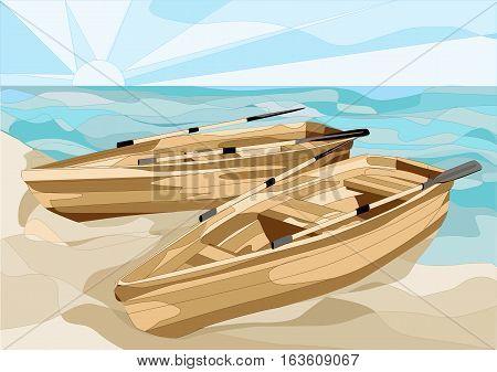boats at coast of the sea on a sand