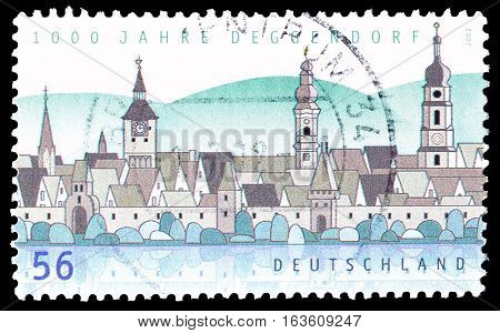 GERMANY - CIRCA 2002 : Cancelled postage stamp printed by Germany, that shows Deggendorf.