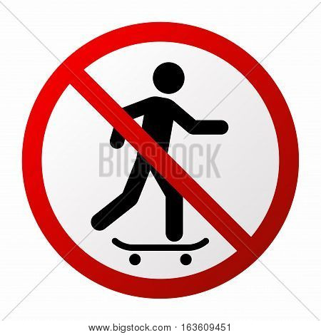 No skateboarding sign. Vector isolated on white background.