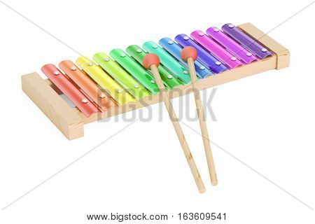 Xylophone wooden toy. 3D rendering isolated on white background