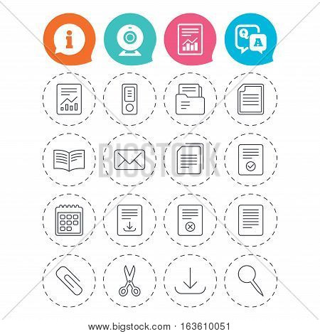 Documents linear icons. Accounting, book and calendar symbols. Paper clip, scissors and download arrow thin outline signs. Mail envelope and file chart. Information, question and answer icons. Vector