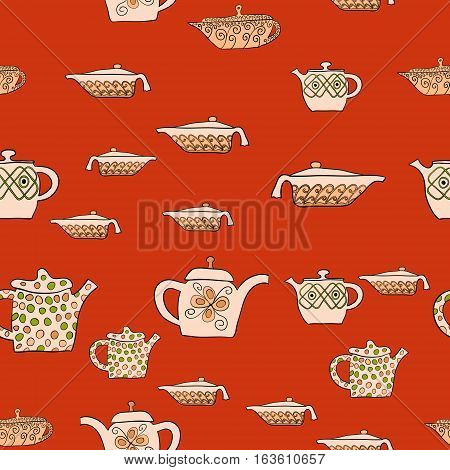 abstract vector doodle tea pot seamless pattern