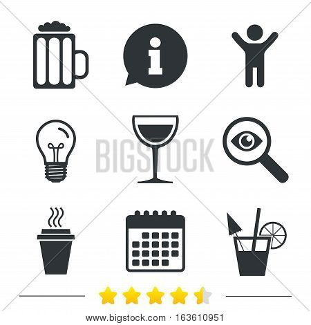 Drinks icons. Take away coffee cup and glass of beer symbols. Wine glass and cocktail signs. Information, light bulb and calendar icons. Investigate magnifier. Vector