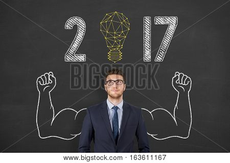 Innovation Concepts New Year 2017 Light Bulb on Blackboard