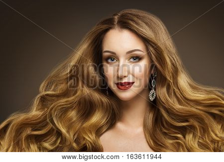 Woman Hair Fashion Model Hairstyle Long Waving Hair Style Girl Beauty Face