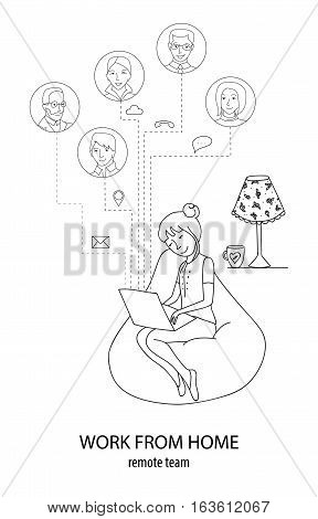 Work and stay connected from home, Remote team, Freelance, Networking concept, woman at laptop at home connecting with other people, thin line style vector