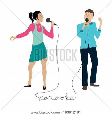 Woman and man singing into microphone, Couple sing in karaoke party, flat vector