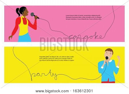 Woman and man singing into microphone, Couple sing in karaoke party, flat vector horizontal banners