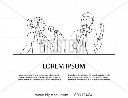 Woman and man singing into microphone, Couple sing in karaoke party, Line doodle style vector, place for your text