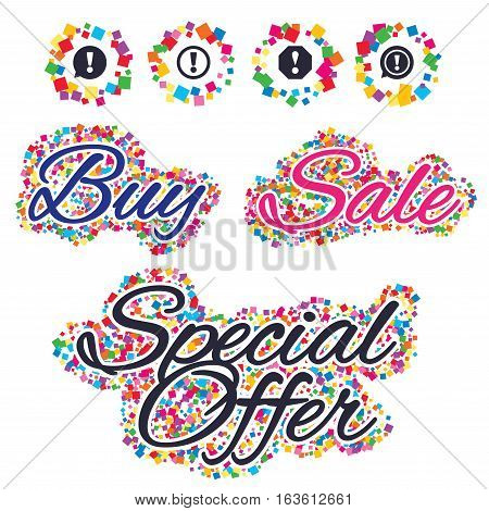 Sale confetti labels and banners. Attention icons. Exclamation speech bubble symbols. Caution signs. Special offer sticker. Vector