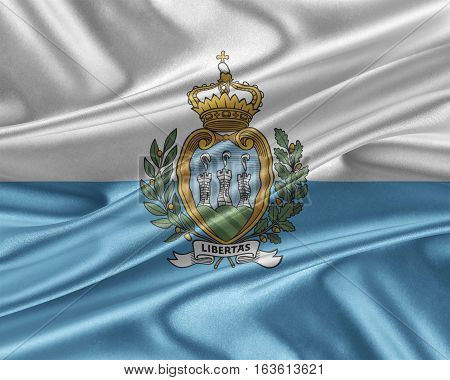 San Marino flag. Flag with a beautiful glossy silk texture. 3D illustration.