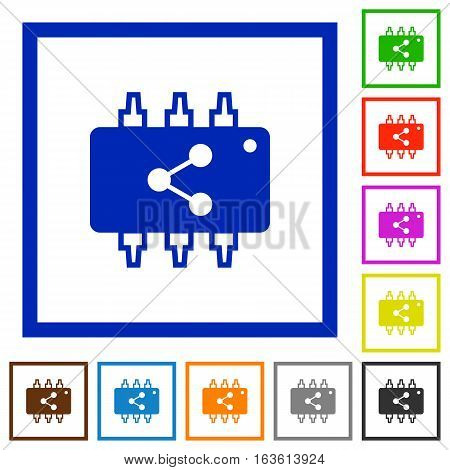 Connect hardware flat color icons in square frames on white background