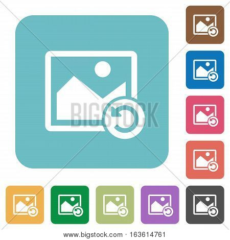 Image rotate left white flat icons on color rounded square backgrounds