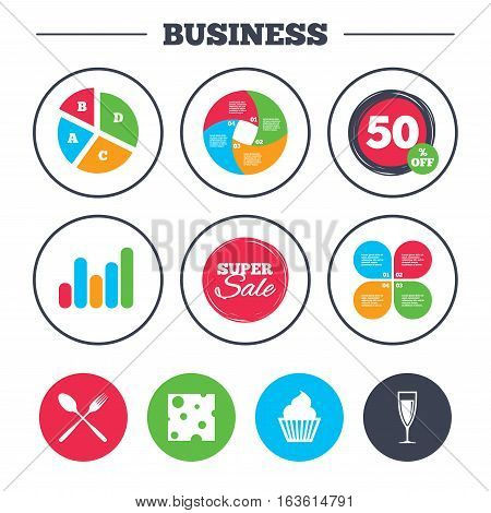 Business pie chart. Growth graph. Food icons. Muffin cupcake symbol. Fork and spoon sign. Glass of champagne or wine. Slice of cheese. Super sale and discount buttons. Vector