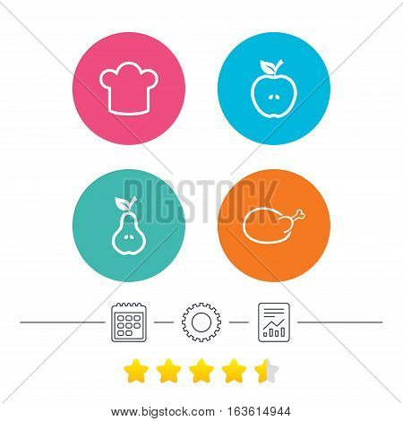 Food icons. Apple and Pear fruits with leaf symbol. Chicken hen bird meat sign. Chef hat icons. Calendar, cogwheel and report linear icons. Star vote ranking. Vector