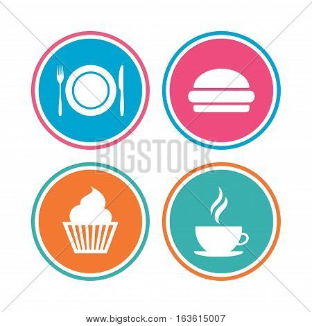 Food and drink icons. Muffin cupcake symbol. Plate dish with fork and knife sign. Hot coffee cup and hamburger. Colored circle buttons. Vector